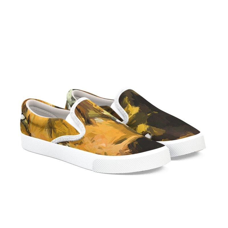 Cat Up Close Men's Slip-On Shoes by jackievano's Artist Shop