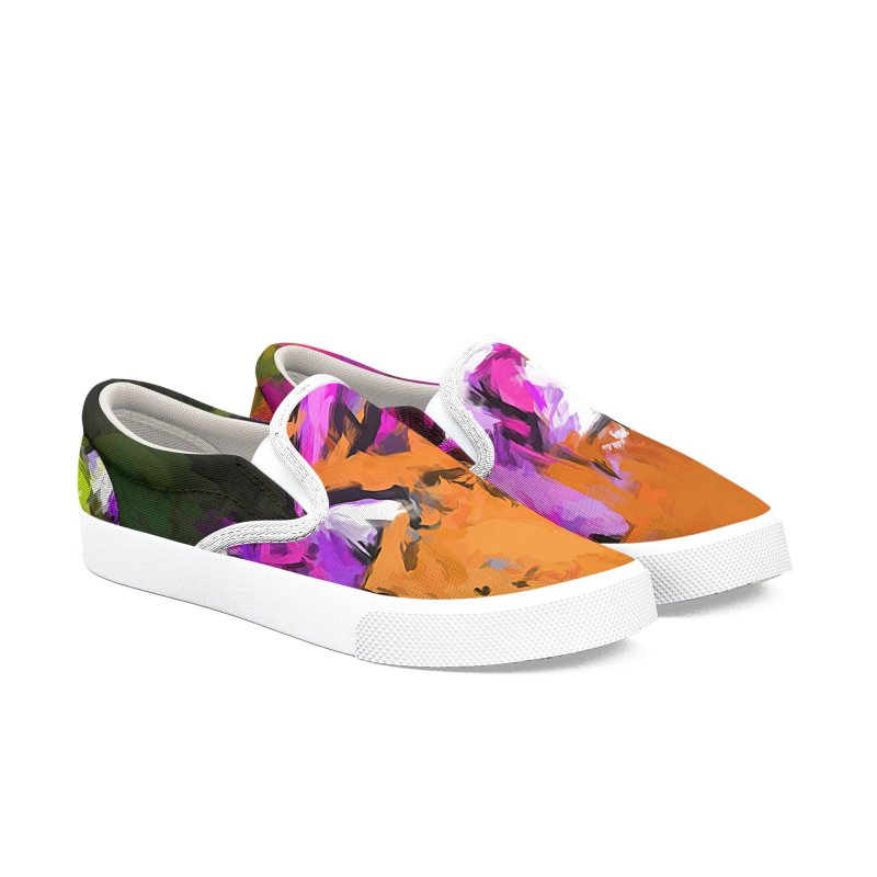 Daisy Rhapsody in Lavender and Pink Men's Slip-On Shoes by jackievano's Artist Shop
