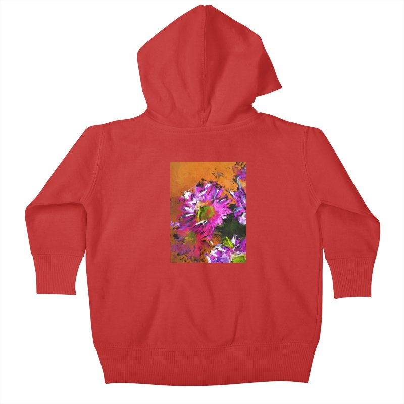 Daisy Rhapsody in Lavender and Pink Kids Baby Zip-Up Hoody by jackievano's Artist Shop