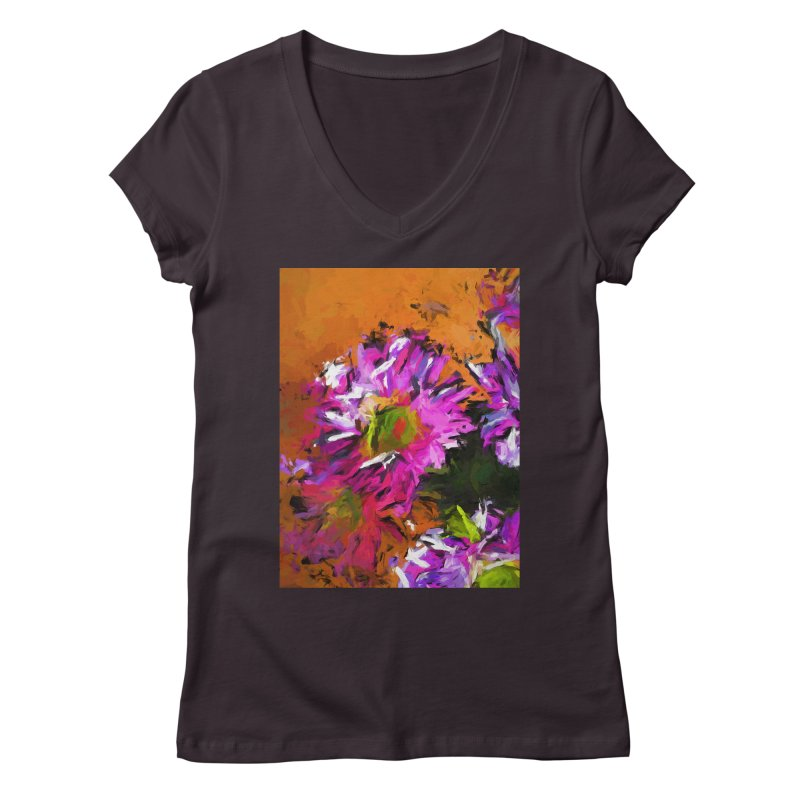 Daisy Rhapsody in Lavender and Pink Women's Regular V-Neck by jackievano's Artist Shop