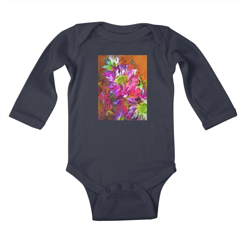 Daisy Rhapsody in Purple and Pink Kids Baby Longsleeve Bodysuit by jackievano's Artist Shop