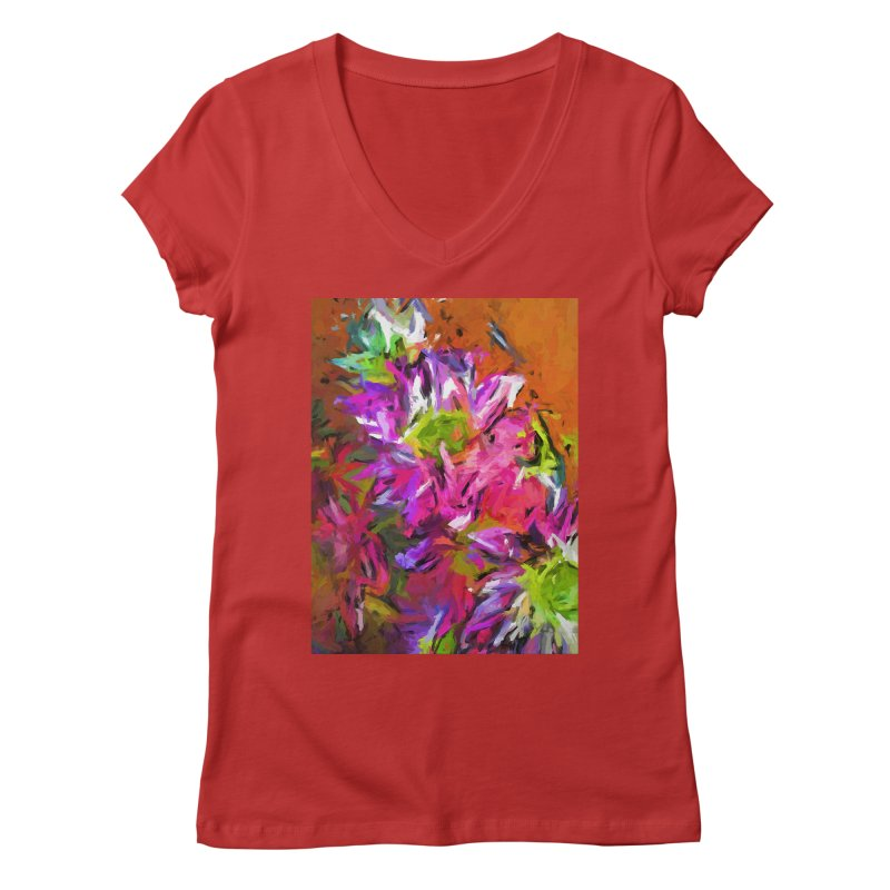 Daisy Rhapsody in Purple and Pink Women's Regular V-Neck by jackievano's Artist Shop