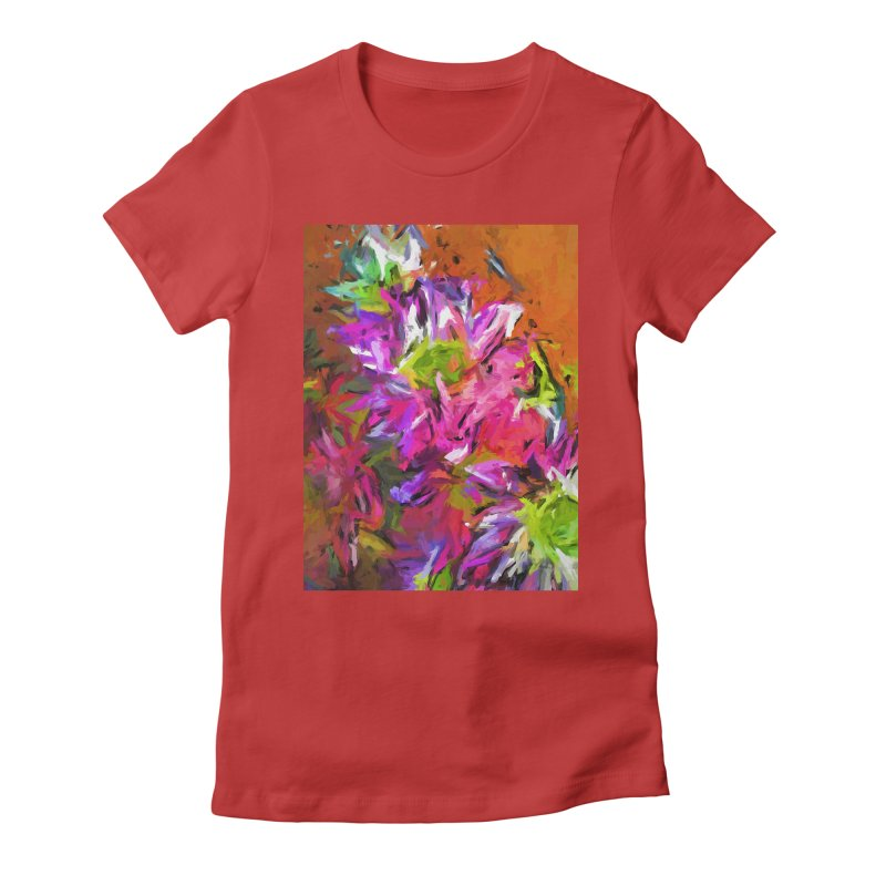 Daisy Rhapsody in Purple and Pink Women's Fitted T-Shirt by jackievano's Artist Shop