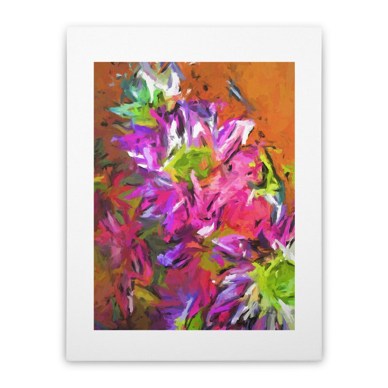 Daisy Rhapsody in Purple and Pink Home Stretched Canvas by jackievano's Artist Shop