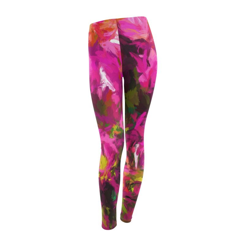 Magenta Flower Buds Climb Women's Leggings Bottoms by jackievano's Artist Shop