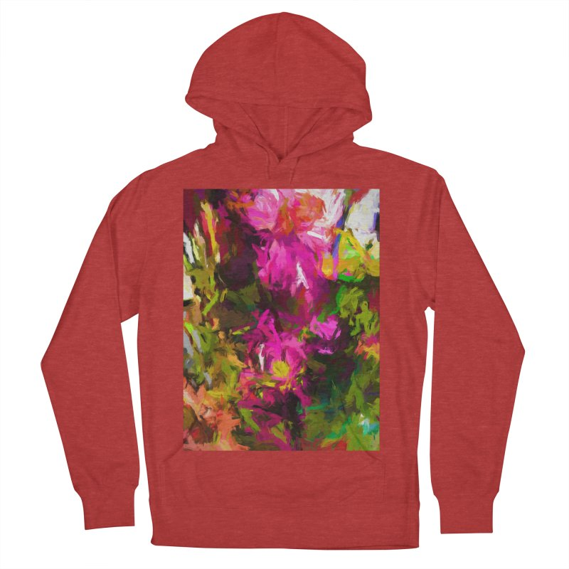 Magenta Flower Buds Climb Women's French Terry Pullover Hoody by jackievano's Artist Shop