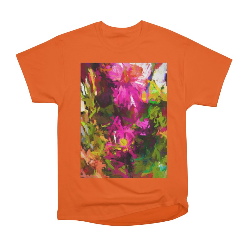 Magenta Flower Buds Climb Men's Heavyweight T-Shirt by jackievano's Artist Shop