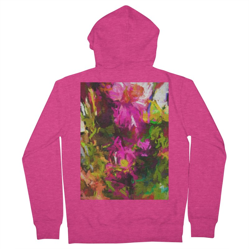 Magenta Flower Buds Climb Women's French Terry Zip-Up Hoody by jackievano's Artist Shop