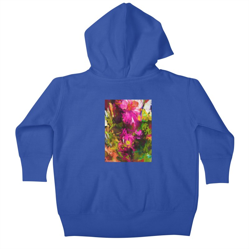 Magenta Flower Buds Climb Kids Baby Zip-Up Hoody by jackievano's Artist Shop