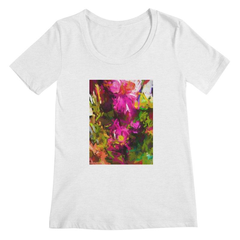 Magenta Flower Buds Climb Women's Regular Scoop Neck by jackievano's Artist Shop