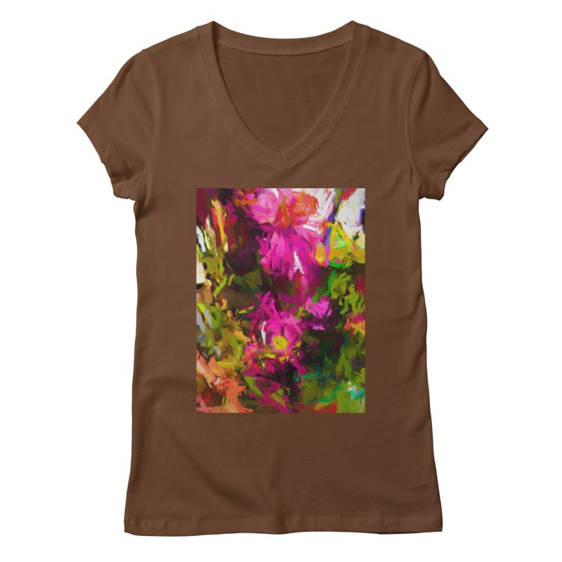 Magenta Flower Buds Climb Women's Regular V-Neck by jackievano's Artist Shop