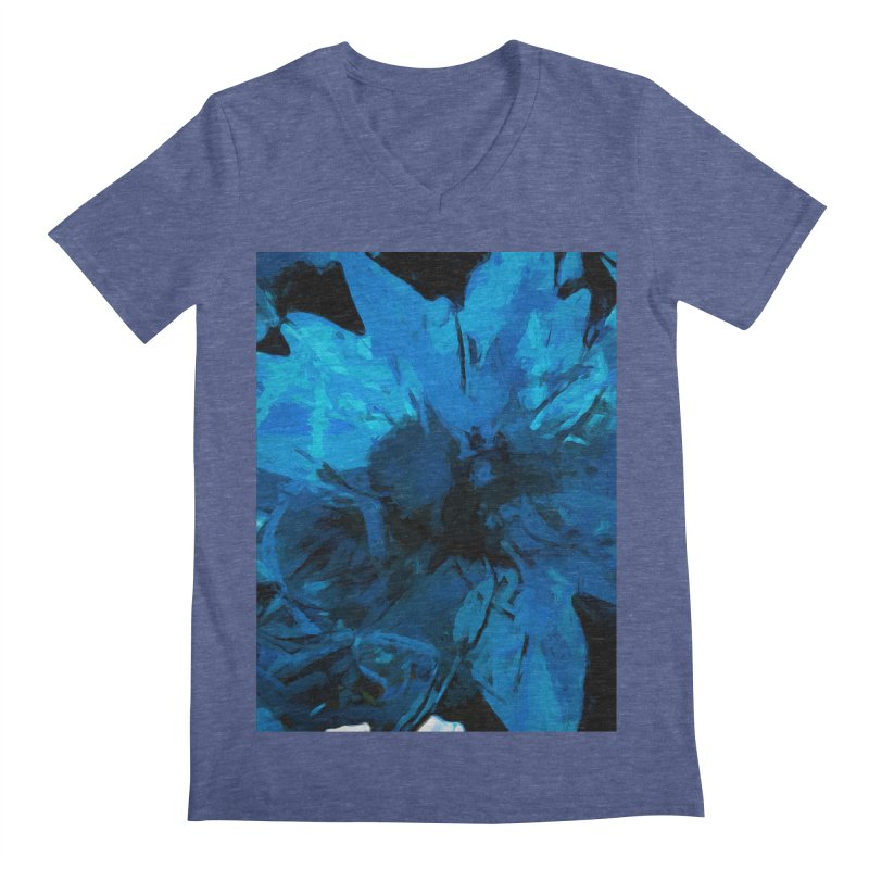 Big Blue Flower Men's Regular V-Neck by jackievano's Artist Shop