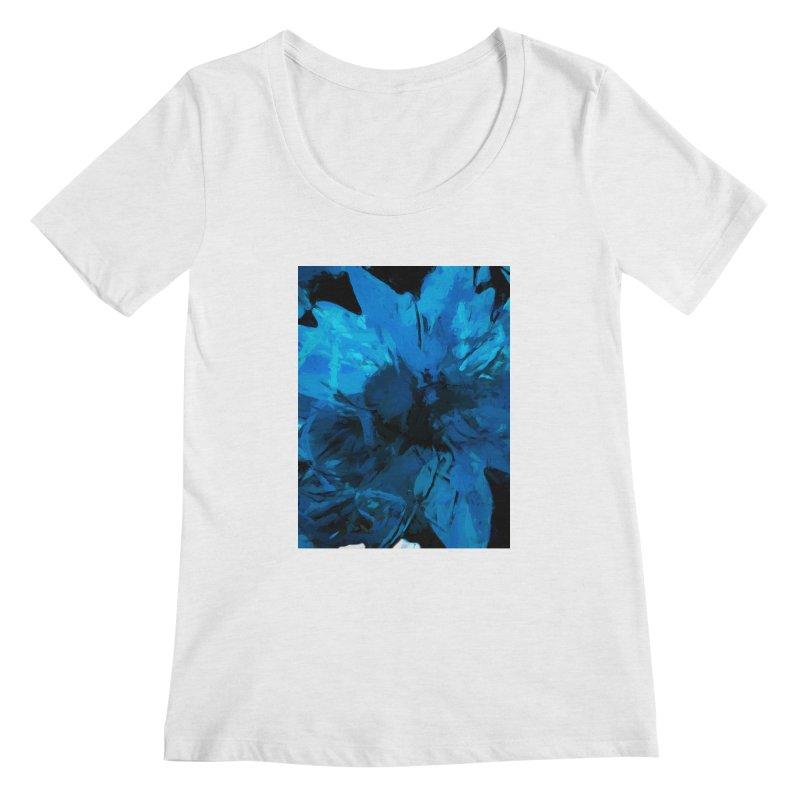 Big Blue Flower Women's Regular Scoop Neck by jackievano's Artist Shop