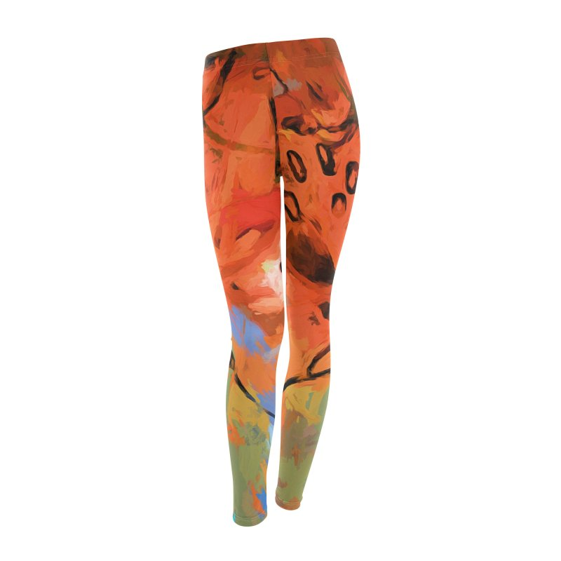 Orange Lily Blue Women's Leggings Bottoms by jackievano's Artist Shop