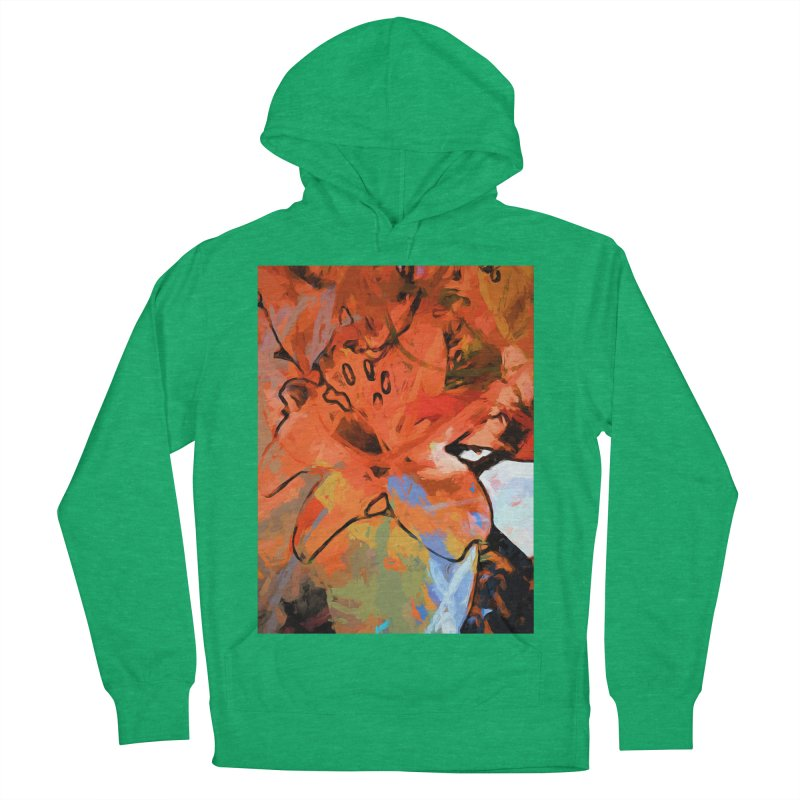 Orange Lily Blue Women's French Terry Pullover Hoody by jackievano's Artist Shop