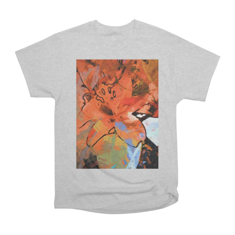 Orange Lily Blue Men's Heavyweight T-Shirt by jackievano's Artist Shop