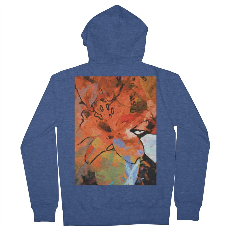 Orange Lily Blue Women's French Terry Zip-Up Hoody by jackievano's Artist Shop