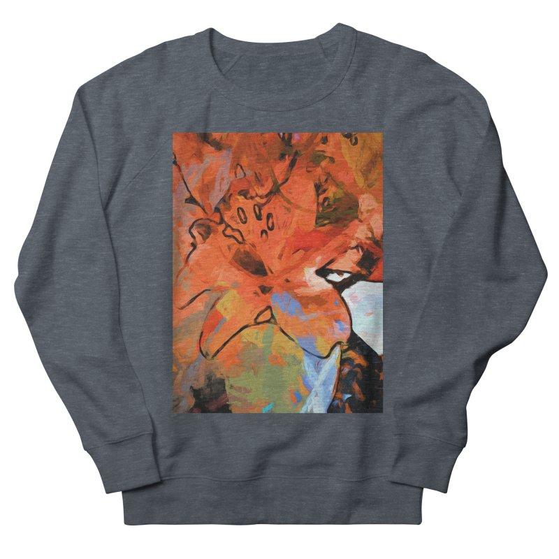 Orange Lily Blue Men's French Terry Sweatshirt by jackievano's Artist Shop