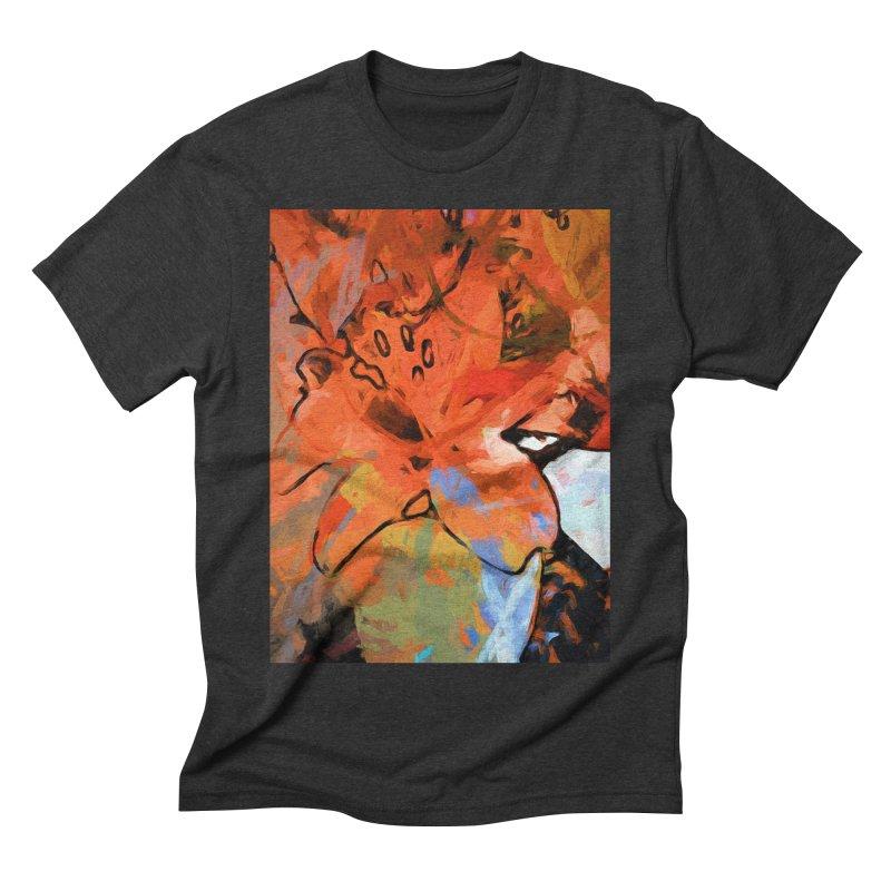 Orange Lily Blue Men's Triblend T-Shirt by jackievano's Artist Shop