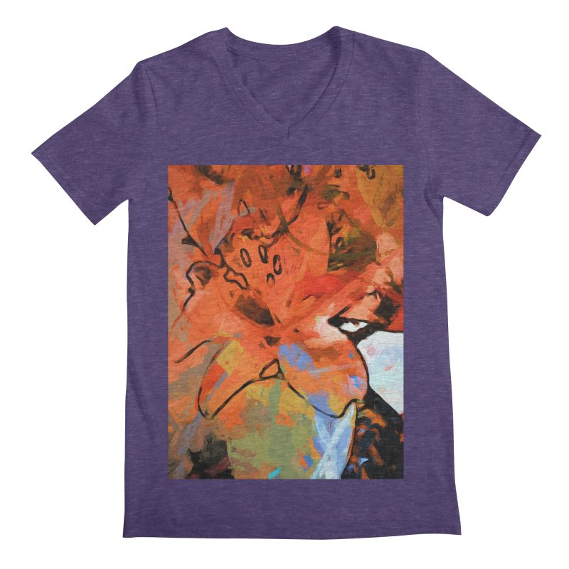 Orange Lily Blue Men's Regular V-Neck by jackievano's Artist Shop