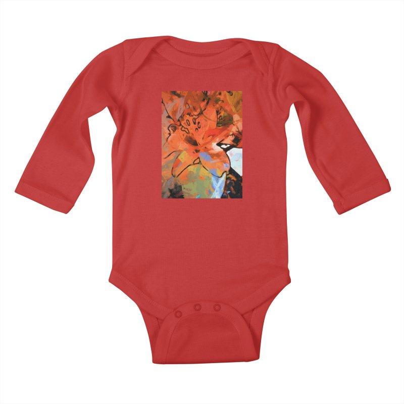 Orange Lily Blue Kids Baby Longsleeve Bodysuit by jackievano's Artist Shop