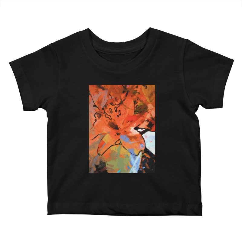 Orange Lily Blue Kids Baby T-Shirt by jackievano's Artist Shop