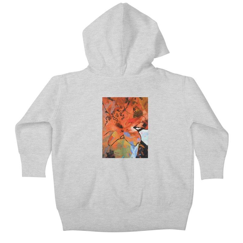 Orange Lily Blue Kids Baby Zip-Up Hoody by jackievano's Artist Shop
