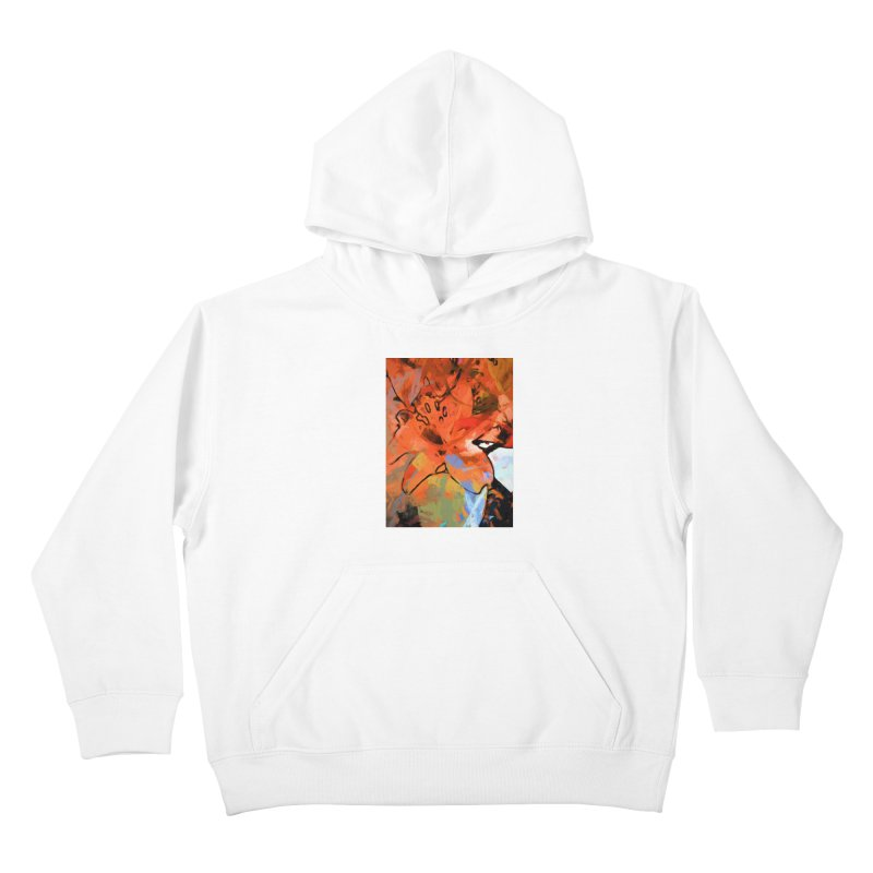 Orange Lily Blue Kids Pullover Hoody by jackievano's Artist Shop