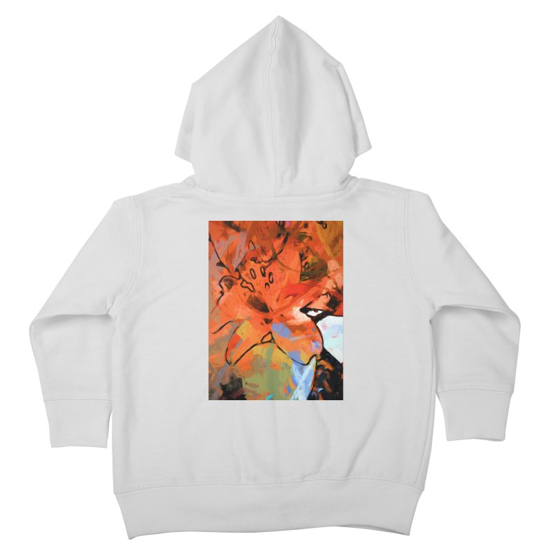 Orange Lily Blue Kids Toddler Zip-Up Hoody by jackievano's Artist Shop
