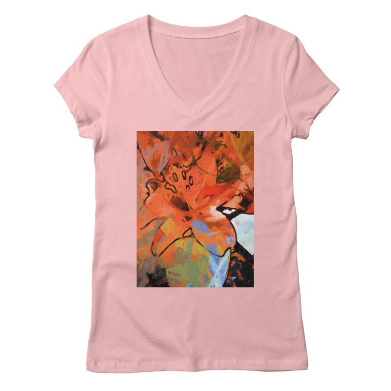 Orange Lily Blue Women's Regular V-Neck by jackievano's Artist Shop