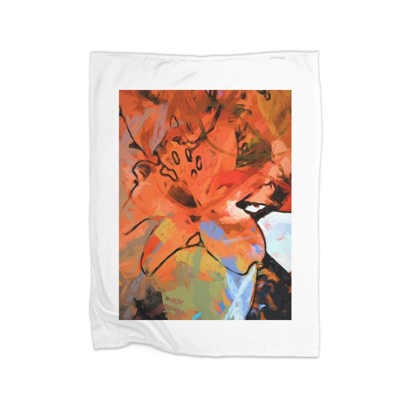 Orange Lily Blue Home Blanket by jackievano's Artist Shop