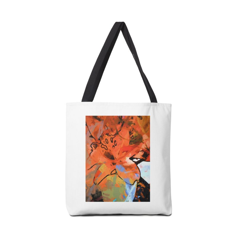 Orange Lily Blue Accessories Bag by jackievano's Artist Shop