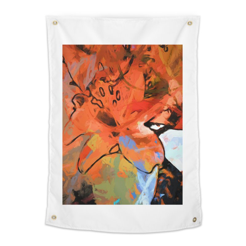 Orange Lily Blue Home Tapestry by jackievano's Artist Shop