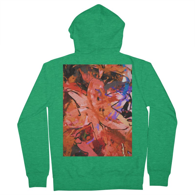 Orange Lily Purple Women's French Terry Zip-Up Hoody by jackievano's Artist Shop