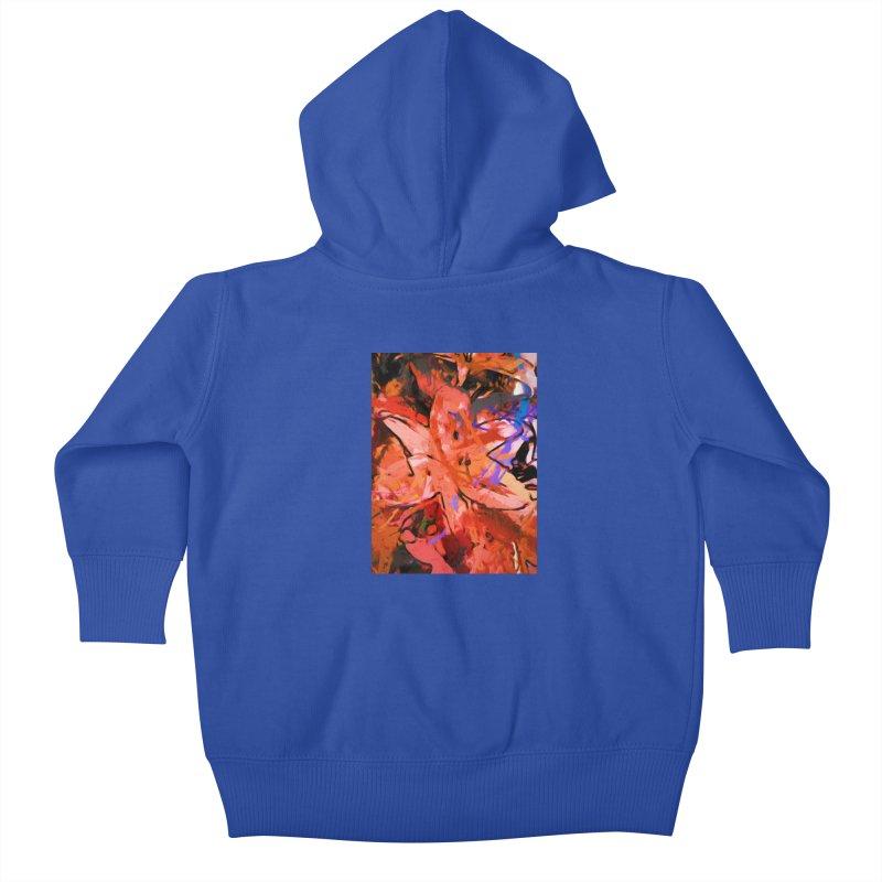 Orange Lily Purple Kids Baby Zip-Up Hoody by jackievano's Artist Shop
