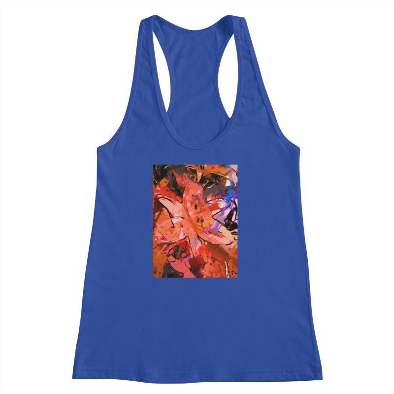Orange Lily Purple Women's Racerback Tank by jackievano's Artist Shop