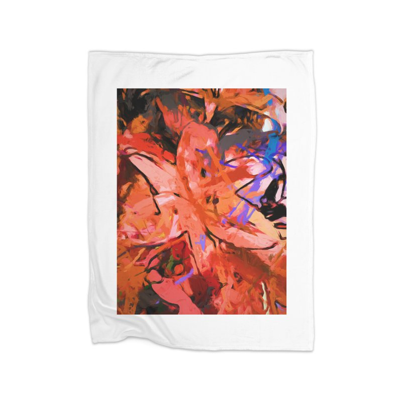 Orange Lily Purple Home Blanket by jackievano's Artist Shop