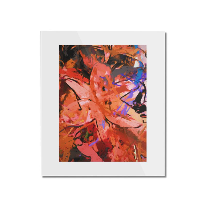 Orange Lily Purple Home Mounted Acrylic Print by jackievano's Artist Shop