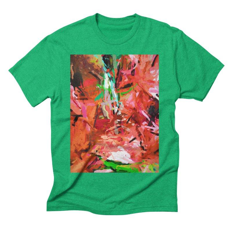 Orange Lily Green 1 Men's Triblend T-Shirt by jackievano's Artist Shop