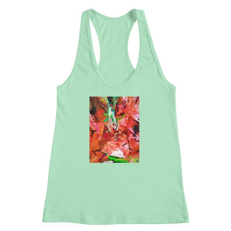 Orange Lily Green 1 Women's Racerback Tank by jackievano's Artist Shop