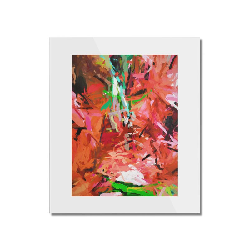 Orange Lily Green 1 Home Mounted Acrylic Print by jackievano's Artist Shop