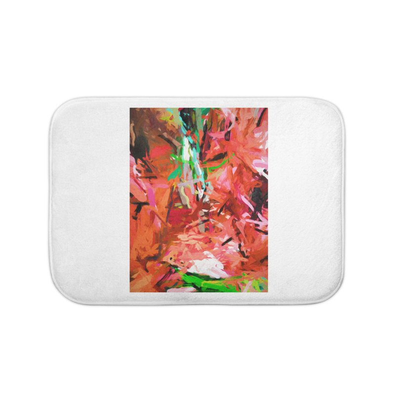 Orange Lily Green 1 Home Bath Mat by jackievano's Artist Shop