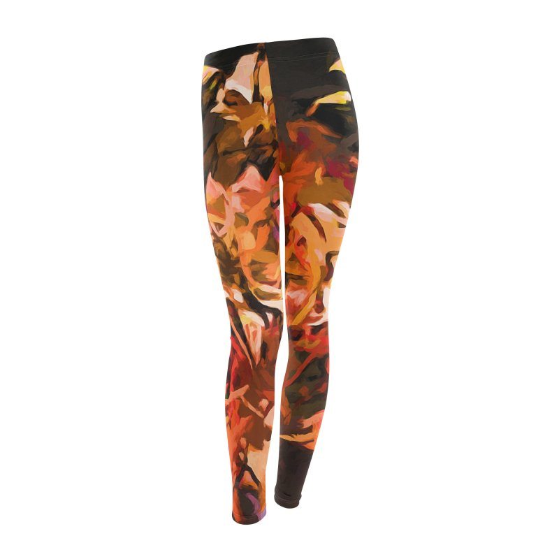 Maelstrom of Orange Lily Flowers Women's Leggings Bottoms by jackievano's Artist Shop