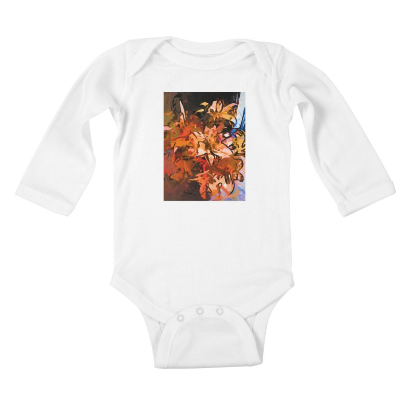 Maelstrom of Orange Lily Flowers Kids Baby Longsleeve Bodysuit by jackievano's Artist Shop