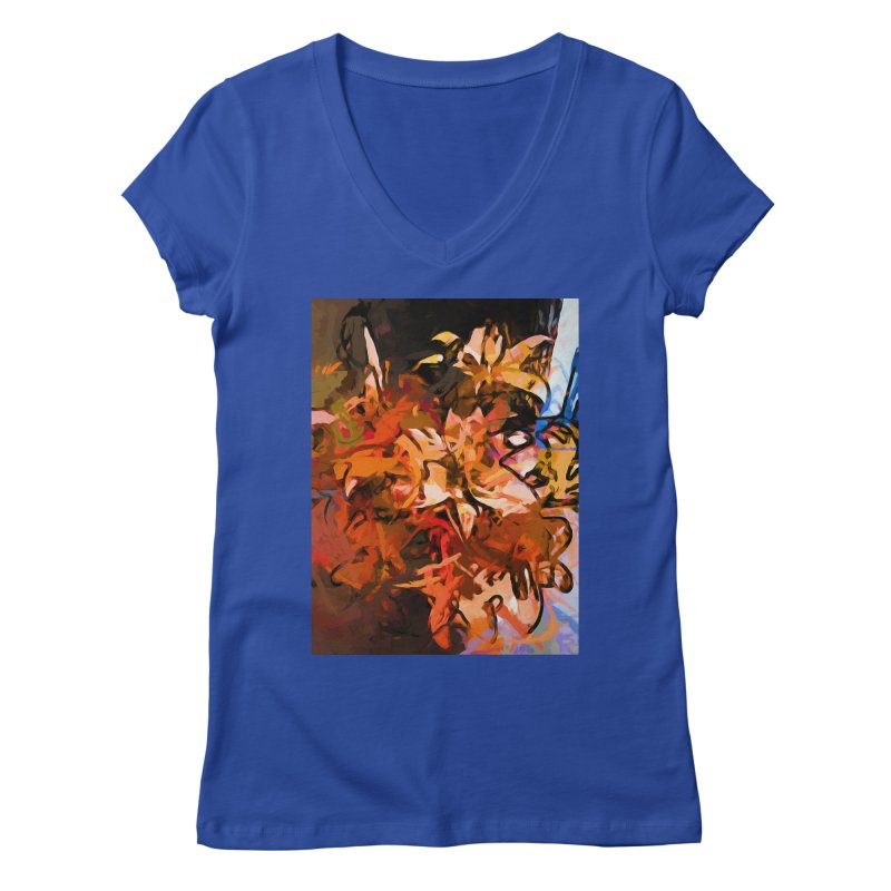 Maelstrom of Orange Lily Flowers Women's Regular V-Neck by jackievano's Artist Shop
