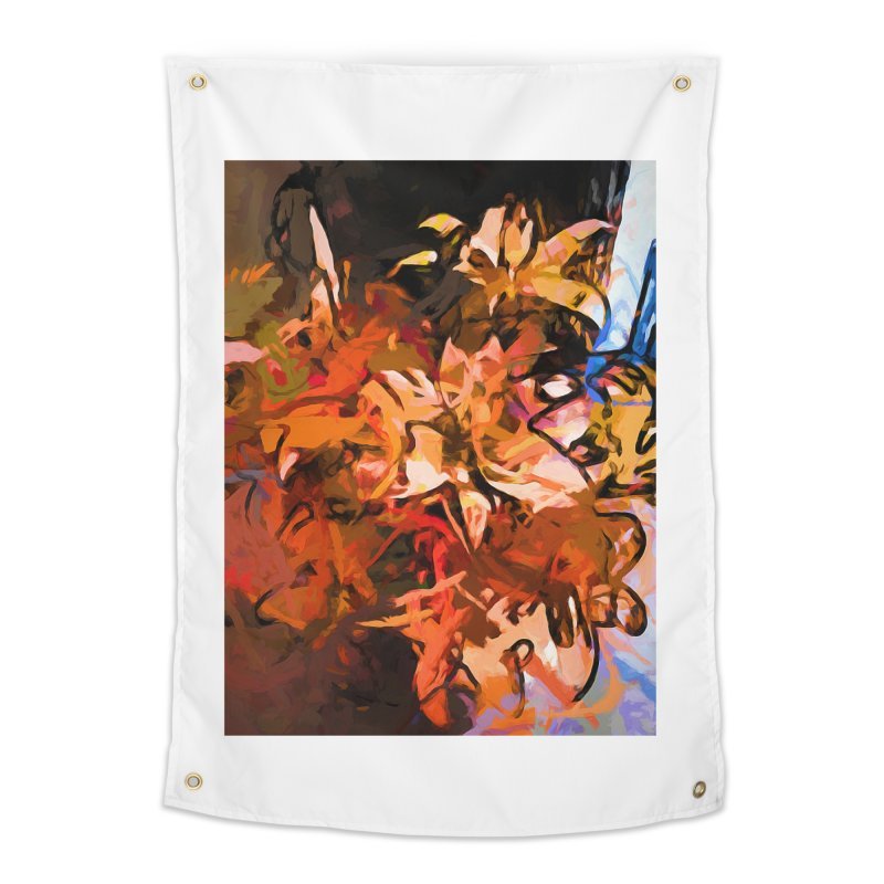Maelstrom of Orange Lily Flowers Home Tapestry by jackievano's Artist Shop