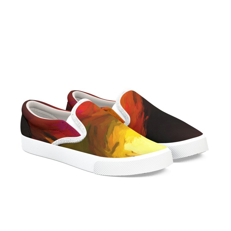 Wine Apple with Gold Apples Men's Slip-On Shoes by jackievano's Artist Shop