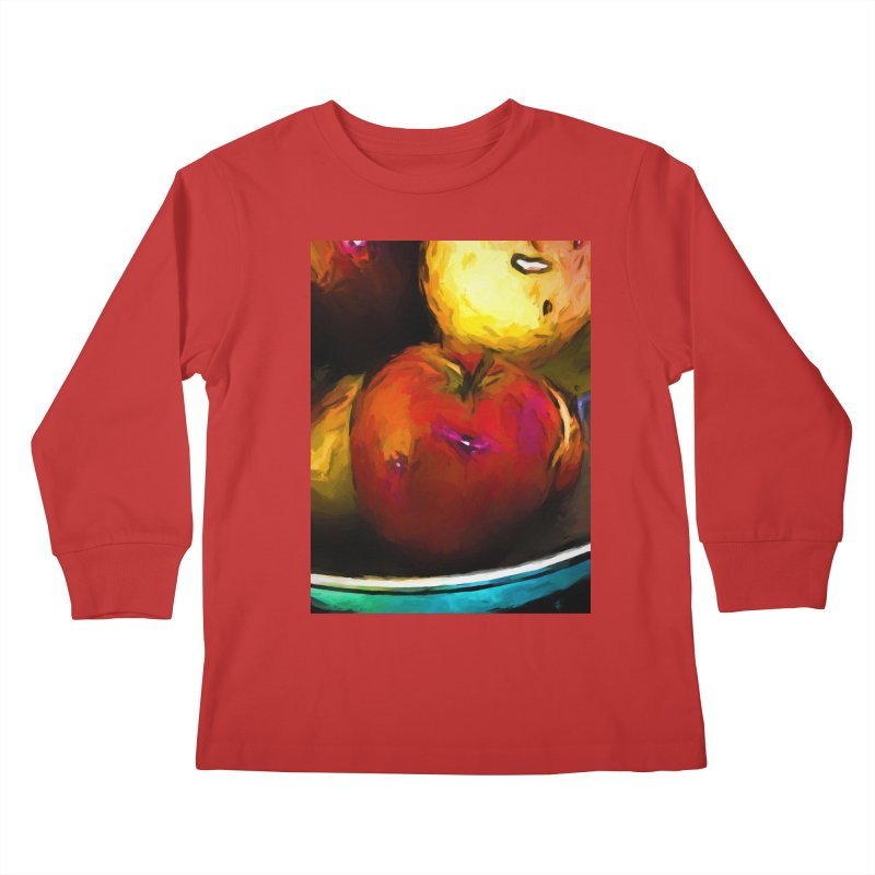 Wine Apple with Gold Apples Kids Longsleeve T-Shirt by jackievano's Artist Shop
