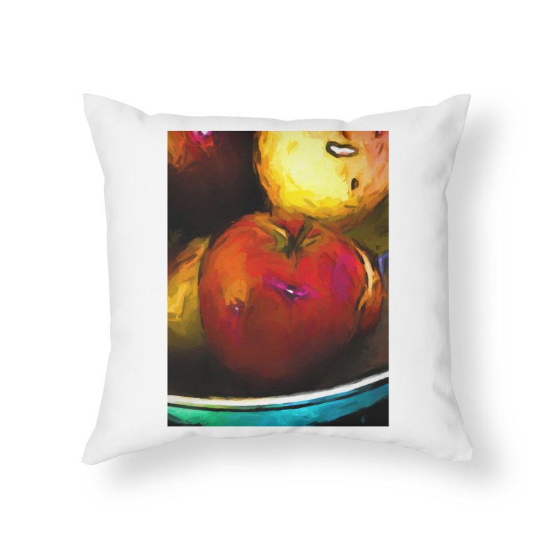 Wine Apple with Gold Apples Home Throw Pillow by jackievano's Artist Shop