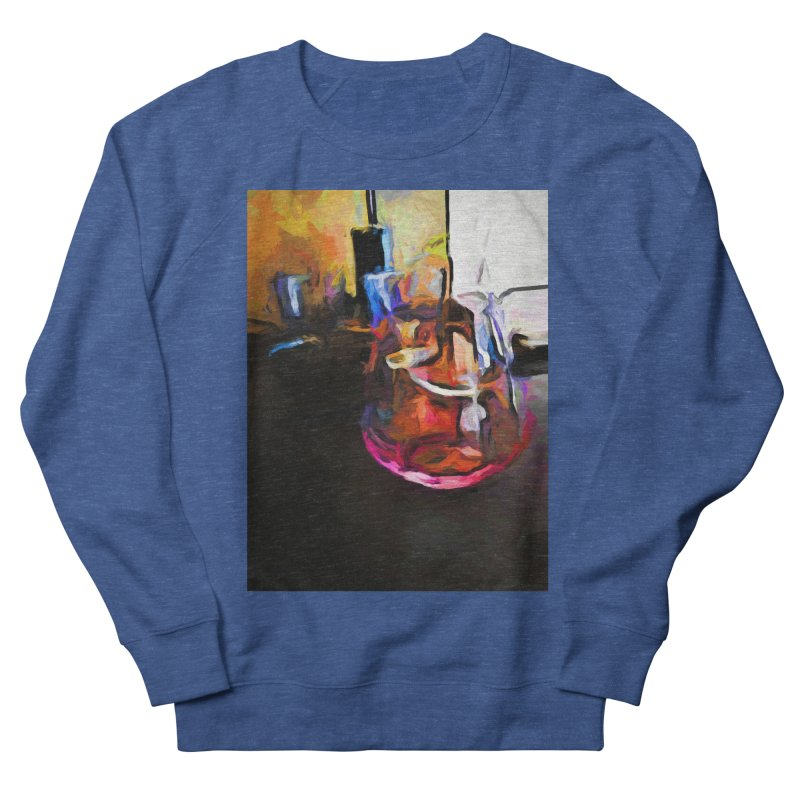 Wine Glass with Pink Wine Men's French Terry Sweatshirt by jackievano's Artist Shop